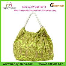 Mint Cotton Drawstring Canvas Fabric Cute Hobo Bag