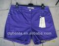 Ladies' 97% de algodón 3% elasticidad casual pantalones cortos-- kf5750