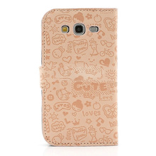 In stock hot selling OEM cute cartoon graffiti folio leather designer case for samsung galaxy grand duos