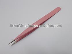 2014 pink tweezers for eyelash extension / straight ESD 10 eyelash tweezers
