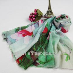 green color lotus pattern digital printing wool wraps