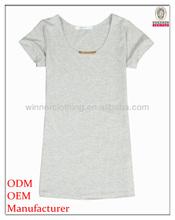 Fashion clothing factory direct short sleeve plain slim fitting ladies t-shirt