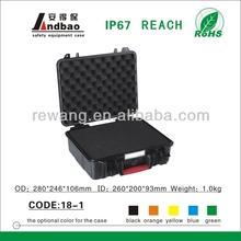 Plastic tool case with foam