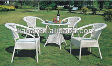 Outdoor white dining table chair rattan garden set furniture