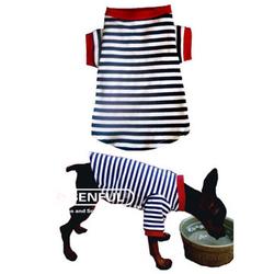 2014 NEW!!!New Cute Striped Pet Puppy Dog Cat Apparel Clothes Coat T Shirts