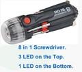 8 porras puntas de destornillador imán con múltiples led linterna herramienta