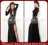 Jo001 Graceful Beaded Long Sleeves Velvet Black Sexy Long Evening Dresses