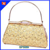 2014 high grade gold color metal clutch bag with stones, hook bag opeaning fancy clutch bag hard case