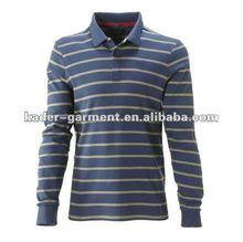 Blue beige stripe long sleeve polo shirt