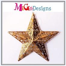 Brown Color Good Metal Christmas Star With Hanger