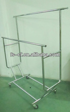 Double rail display racks and stands for garments