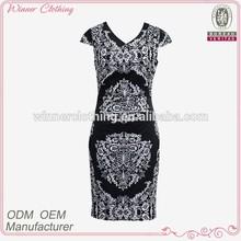 2014 antique retro body con lady/women latest design office white and black print pattern gothic dress