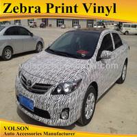 1.52*30 3M bubble free zebra paint car vinyl wrap