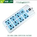 250v 8-way de plástico eléctrico enchufes y tomas de corriente con interruptor