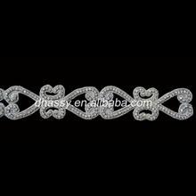 Diamante Trimming small Crystal glass Rhinestone Silver Chain DH-1518