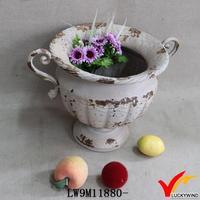 decorate handmade antique metal flower pot urn