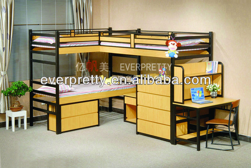 Bunk Beds With Three Beds Wooden Double Bed With Drawers