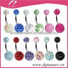 wholesale corpo piercing jóias shamballa cz cristais de zircão baratos anel da barriga