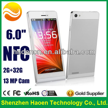 Best Selling 6 Inch Android Phone Quad Core Cheap Smart phone NFC with Cortex A7 Mega Camera mobile