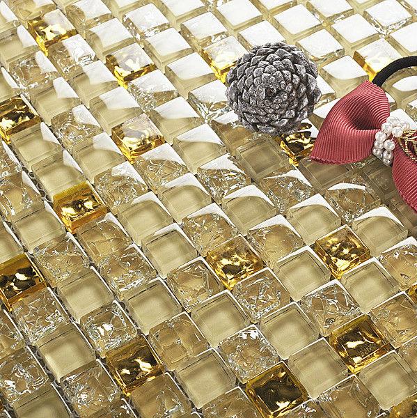 Vendita calda cucina backsplash piastrelle mosaico di vetro color oro piastrelle di mosaico di ...