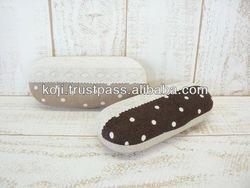 Aluminum eyeglasses case of polka-dot, made in Japan