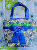 cosmetic cotton printing and quitting hand bag roses sky blue A005-C0006