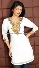 Newly Stylish Golden Embroidery White Short Kurti