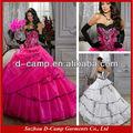 Qu-259 decote sem alças querida rosa e preto vestidos quinceanera 2014 preto e rosa vestido de baile