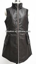ladies brown sheep leather sleeveless vest fanncy dress