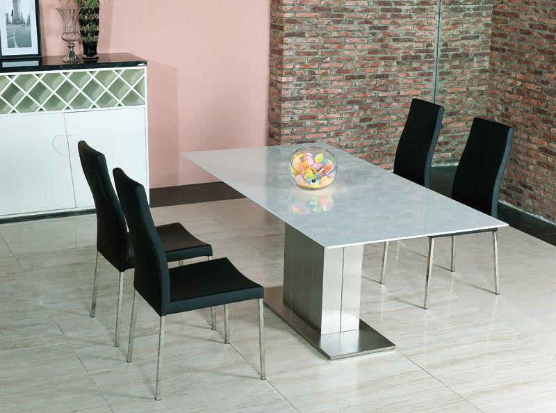 Blanco extensi n de comedor de m rmol mesa de madera de - Bases de marmol para mesas de comedor ...