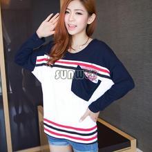 High Quality 2014 Popular Design Women T-shirt Casual Loose Batwing Stripe Blouse Long Sleeve T-shirt top 3 Sizes 19094