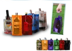 Ice pvc wine cooler plastic bag for wine packing with handle