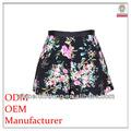 Simple y de moda de las señoras de alta calidad una- la línea de la flora dril de algodón impreso patrón de la falda