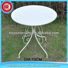 Outdoor light white round metal antique round table