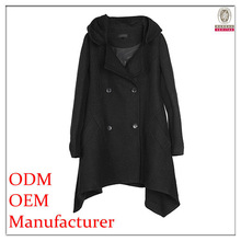 2014 latest fashion garment factory polyester/wool short front long back coats with long sleeves and stand collar for women