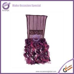 k0631 Classic organza ruffled fancy wedding chair covers for wedding chair decoration