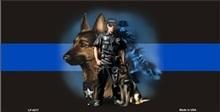 Blue Line Centered Police K-9 Dog License Plate