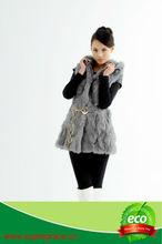 Wholesale Price Genuine Rex Rabbit Fur Coat with Fur Hoodie,Metal Belt