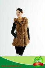 Fur Factory Rabbit Fur Coat With Metal Belt Long Style In Ligh Khaki