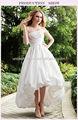 Verdadeiro simples , mas elegante ocidental casamento da dama de honra vestidos de cetim branco frente curto e longo voltar vestido da dama barato