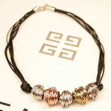 Gold metal ball beaded black choker necklace