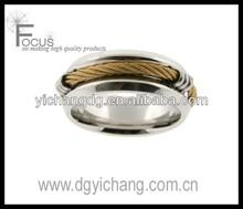 in acciaio inossidabile band ring 316l oro cavo arrotondato finitura lucida 8mm larghezza