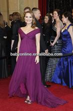 2014 Sexy New Purple V Neck cap manches perles grandes femmes de taille robe de soirée robes pour les femmes enceintes