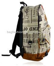 New Fashion Unisex Newspaper Design Print Backpacks School Shoulder Bag 2014