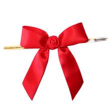 1/2 inch fancy make satin ribbon bow,mini twist tie bows,pre made bow with twist tie