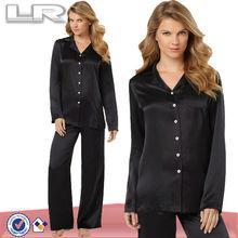 Charmeuse peinado hacia atrás para mujer 100% pijama de seda