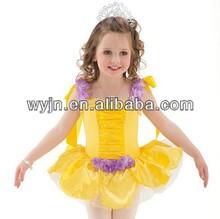 De la muchacha de rendimiento amarillo trajes del tutú del ballet leotard de las muchachas del ballet de la danza de la falda del vestido trajes de ballet tutu