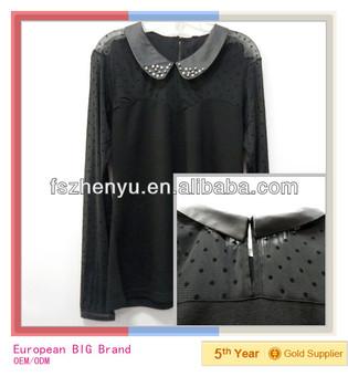 2014 Wholesale Latest Long Mesh Sleeve Fancy Ladies tops