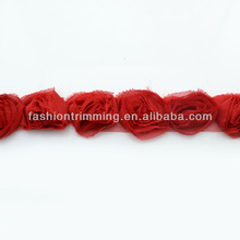 Wholesale red shabby rose trims for decoration