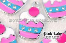M84 Wholesale DIY Pink Birthday Celebration Pink Cupcake Pendant Charm